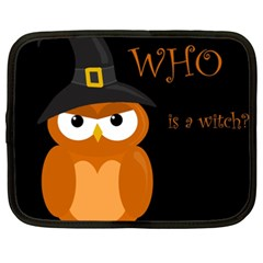 Halloween Witch   Orange Owl Netbook Case (xxl)  by Valentinaart