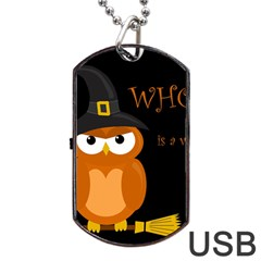 Halloween Witch   Orange Owl Dog Tag Usb Flash (one Side) by Valentinaart