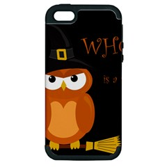 Halloween Witch   Orange Owl Apple Iphone 5 Hardshell Case (pc+silicone) by Valentinaart