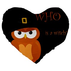 Halloween Witch   Orange Owl Large 19  Premium Heart Shape Cushions by Valentinaart