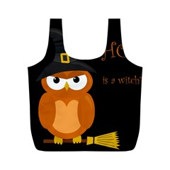 Halloween Witch   Orange Owl Full Print Recycle Bags (m)  by Valentinaart