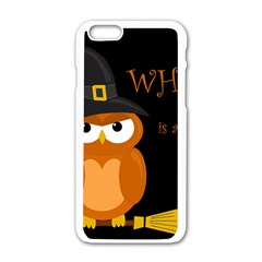Halloween Witch   Orange Owl Apple Iphone 6/6s White Enamel Case by Valentinaart