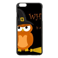Halloween Witch   Orange Owl Apple Iphone 6 Plus/6s Plus Black Enamel Case by Valentinaart