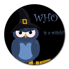 Halloween Witch   Blue Owl Round Mousepads by Valentinaart