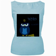 Halloween Witch   Blue Owl Women s Baby Blue Tank Top by Valentinaart