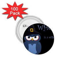 Halloween Witch   Blue Owl 1 75  Buttons (100 Pack)  by Valentinaart