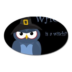 Halloween Witch   Blue Owl Oval Magnet by Valentinaart