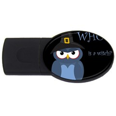 Halloween Witch   Blue Owl Usb Flash Drive Oval (4 Gb)
