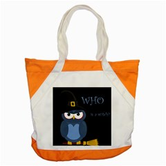 Halloween Witch   Blue Owl Accent Tote Bag by Valentinaart