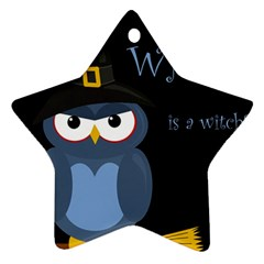 Halloween Witch   Blue Owl Star Ornament (two Sides)  by Valentinaart