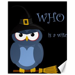 Halloween Witch   Blue Owl Canvas 16  X 20   by Valentinaart