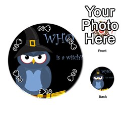 Halloween Witch   Blue Owl Playing Cards 54 (round)  by Valentinaart