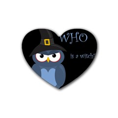 Halloween Witch   Blue Owl Rubber Coaster (heart)  by Valentinaart