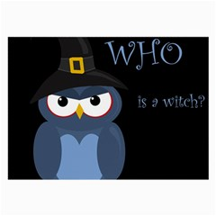 Halloween Witch   Blue Owl Large Glasses Cloth by Valentinaart