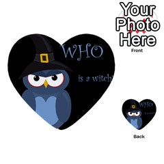 Halloween Witch   Blue Owl Multi Purpose Cards (heart)  by Valentinaart