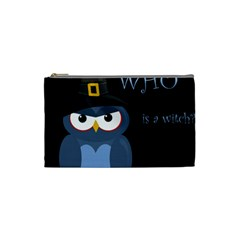 Halloween Witch   Blue Owl Cosmetic Bag (small)  by Valentinaart