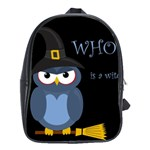 Halloween witch - blue owl School Bags(Large)  Front