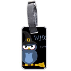 Halloween Witch   Blue Owl Luggage Tags (one Side)  by Valentinaart
