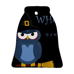 Halloween Witch   Blue Owl Bell Ornament (2 Sides) by Valentinaart