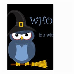 Halloween Witch   Blue Owl Small Garden Flag (two Sides) by Valentinaart