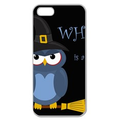 Halloween Witch   Blue Owl Apple Seamless Iphone 5 Case (clear) by Valentinaart