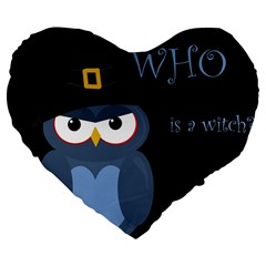Halloween Witch   Blue Owl Large 19  Premium Flano Heart Shape Cushions by Valentinaart