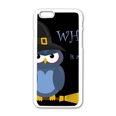 Halloween Witch   Blue Owl Apple Iphone 6/6s White Enamel Case by Valentinaart
