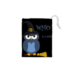 Halloween Witch   Blue Owl Drawstring Pouches (xs)  by Valentinaart