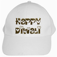 Happy Diwali Greeting Cute Hearts Typography Festival Of Lights Celebration White Cap by yoursparklingshop