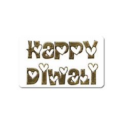 Happy Diwali Greeting Cute Hearts Typography Festival Of Lights Celebration Magnet (name Card) by yoursparklingshop