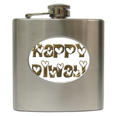 Happy Diwali Greeting Cute Hearts Typography Festival Of Lights Celebration Hip Flask (6 Oz) by yoursparklingshop