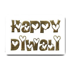 Happy Diwali Greeting Cute Hearts Typography Festival Of Lights Celebration Small Doormat