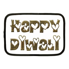 Happy Diwali Greeting Cute Hearts Typography Festival Of Lights Celebration Netbook Case (medium)  by yoursparklingshop