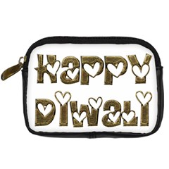 Happy Diwali Greeting Cute Hearts Typography Festival Of Lights Celebration Digital Camera Cases by yoursparklingshop