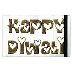 Happy Diwali Greeting Cute Hearts Typography Festival Of Lights Celebration Apple Ipad 2 Flip Case by yoursparklingshop