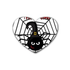 Halloween Cute Spider Rubber Coaster (heart)  by Valentinaart