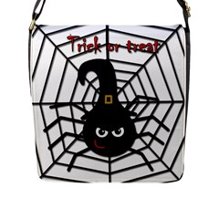 Halloween Cute Spider Flap Messenger Bag (l)  by Valentinaart