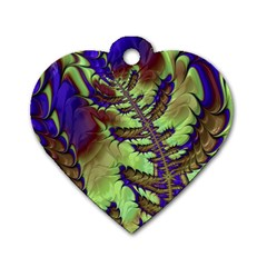 Freaky Friday, Blue Green Dog Tag Heart (two Sides) by Fractalworld