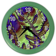 Freaky Friday, Blue Green Color Wall Clocks by Fractalworld