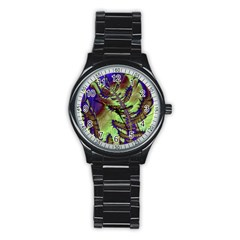 Freaky Friday, Blue Green Stainless Steel Round Watch by Fractalworld