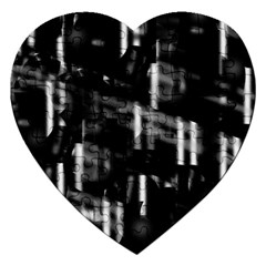 Black And White Neon City Jigsaw Puzzle (heart) by Valentinaart