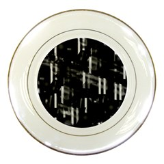Black And White Neon City Porcelain Plates by Valentinaart