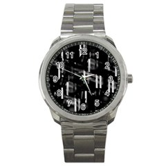 Black And White Neon City Sport Metal Watch by Valentinaart