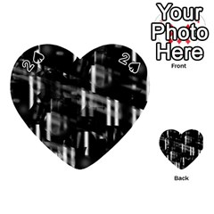 Black And White Neon City Playing Cards 54 (heart)  by Valentinaart