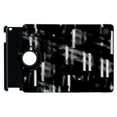 Black And White Neon City Apple Ipad 2 Flip 360 Case by Valentinaart