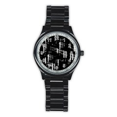 Black And White Neon City Stainless Steel Round Watch by Valentinaart