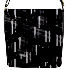 Black And White Neon City Flap Messenger Bag (s) by Valentinaart