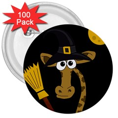 Halloween Giraffe Witch 3  Buttons (100 Pack)  by Valentinaart