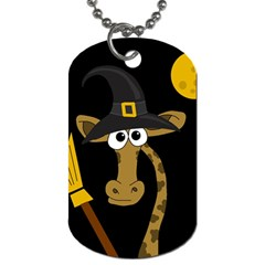 Halloween Giraffe Witch Dog Tag (two Sides) by Valentinaart