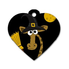 Halloween Giraffe Witch Dog Tag Heart (one Side) by Valentinaart